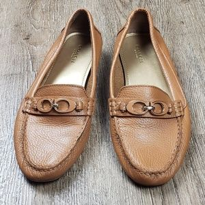COACH Fortuna Tan Leather Loafer/Flat  Size 8